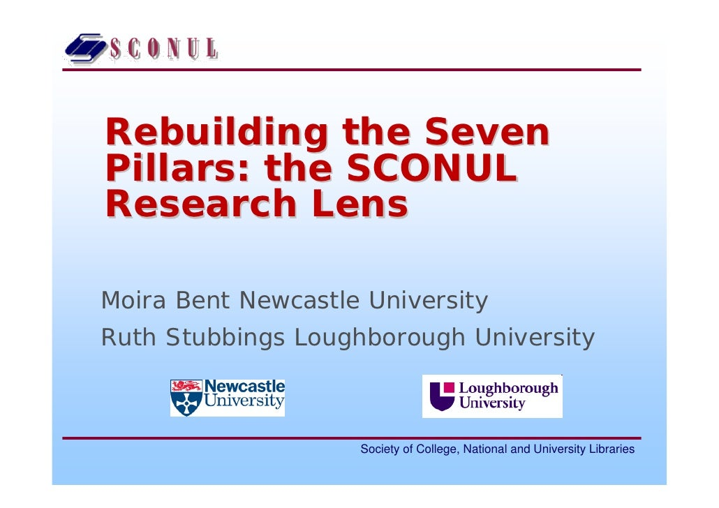 Rebuilding the SevenPillars: the SCONULResearch LensMoira Bent Newcastle UniversityRuth Stubbings Loughborough University ...