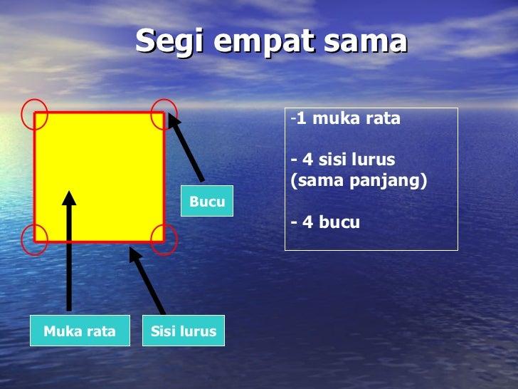 Segi empat sama Muka rata Sisi lurus Bucu <ul><li>1 muka rata </li></ul><ul><li>- 4 sisi lurus  </li></ul><ul><li>(sama pa...