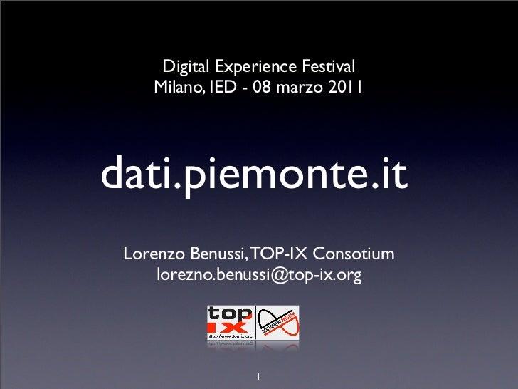 Digital Experience Festival    Milano, IED - 08 marzo 2011dati.piemonte.it Lorenzo Benussi, TOP-IX Consotium     lorezno.b...