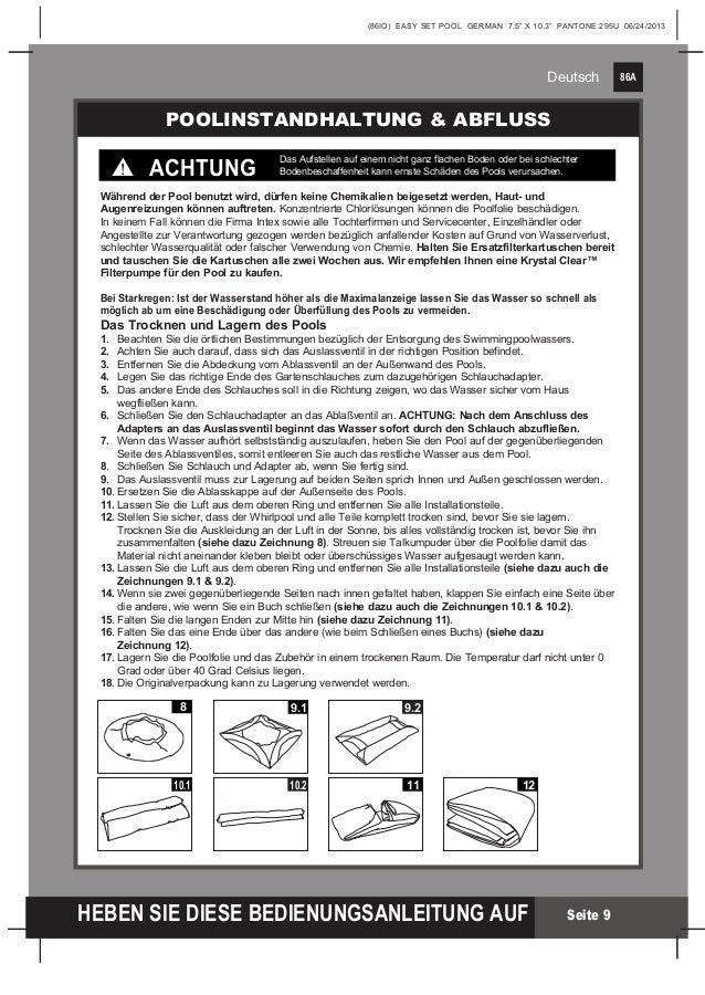 Benutzerhandbuch easy set pool intex pool for Poolfolie wechseln