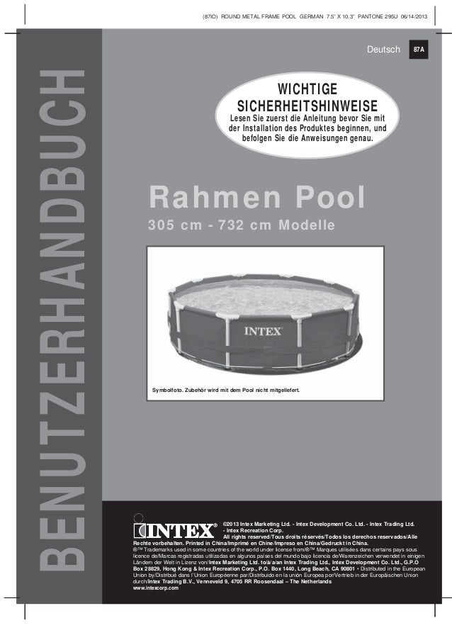 Benutzerhandbuch metal frame_pool - Intex Pool Shop