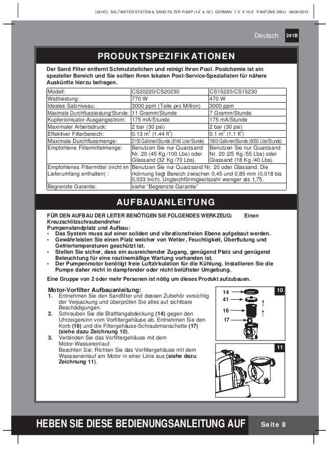 Benutzerhandbuch sandfilterpumpe salzwassersystem Intex
