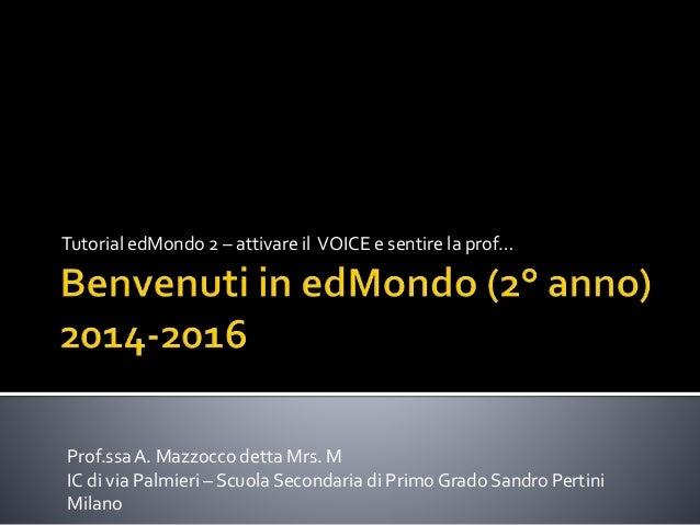 Tutorial edMondo 2 – attivare il VOICE e sentire la prof… Prof.ssaA. Mazzocco detta Mrs. M IC di via Palmieri – Scuola Sec...