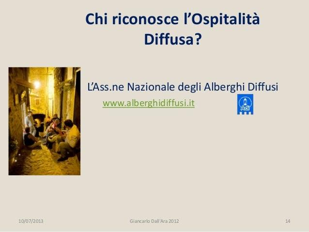 L'Ass.ne Nazionale degli Alberghi Diffusi www.alberghidiffusi.it 10/07/2013 14Giancarlo Dall'Ara 2012 Chi riconosce l'Ospi...