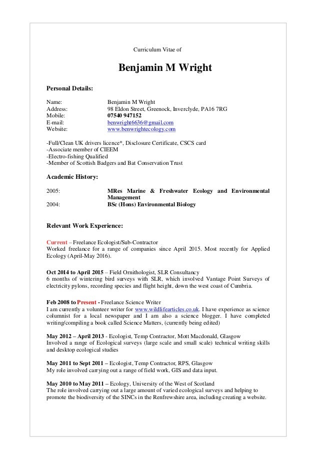 ben wright cv current