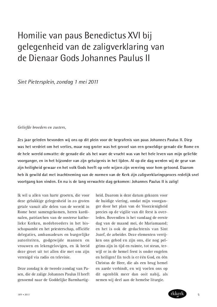 Homilie van paus Benedictus XVI bijgelegenheid van de zaligverklaring vande Dienaar Gods Johannes Paulus IISint Pietersple...