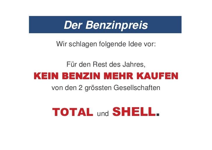 Der Benzinpreis     Wir schlagen folgende Idee vor:        Für den Rest des Jahres,1   .      .- .         #0 1/67 .    vo...
