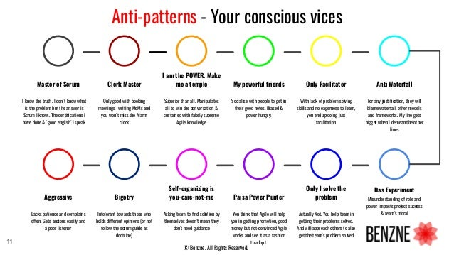Anti-patterns - Your conscious vices Master of Scrum I know the truth. I don't know what is the problem but the answer is ...