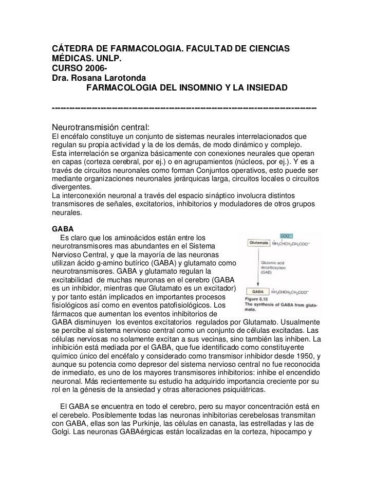 CÁTEDRA DE FARMACOLOGIA. FACULTAD DE CIENCIAS MÉDICAS. UNLP. CURSO 2006- Dra. Rosana Larotonda         FARMACOLOGIA DEL IN...