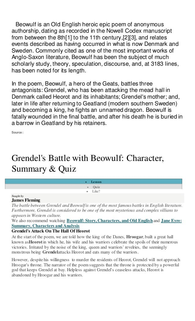 an analysis of the topic of beowulf Introduction of topic as in most stories, the epic poem beowulf has a theme that applies to almost everyone in real life in this case, beowulf showcases that to live a full life, it is often the case that we must actively seek out and overcome obstacles.