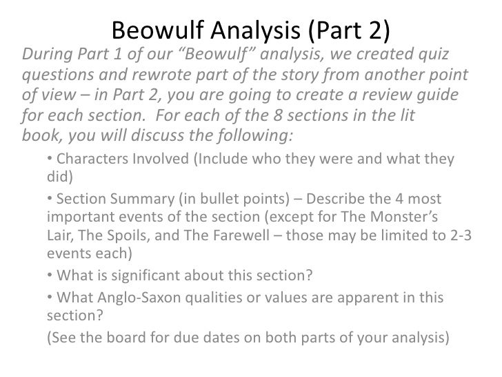 summary and analysis of beowulf