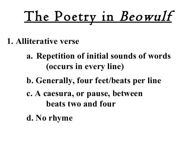 exaples of alliteration or kennings in beowulf This lesson shows you examples of kennings, or metaphorical phrases, in the old english epic poem 'beowulf' after this lesson, you'll understand.