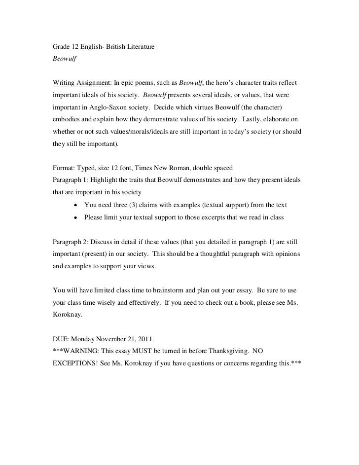 beowulf ideals essay assignment sheet grade 12 english british literaturebeowulfwriting assignment in epic poems such as beowulf