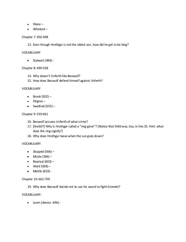beowulf essay test questions Beowulf essay topics scops what is the role of scops in beowulf do they have any influence on the plot what elements in the story are best performed, and what.
