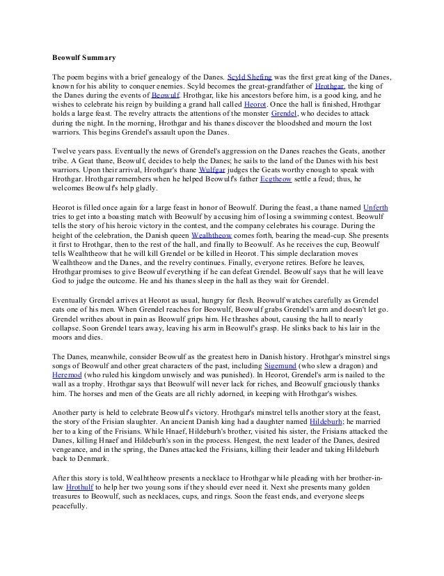 essay summary of beowulf