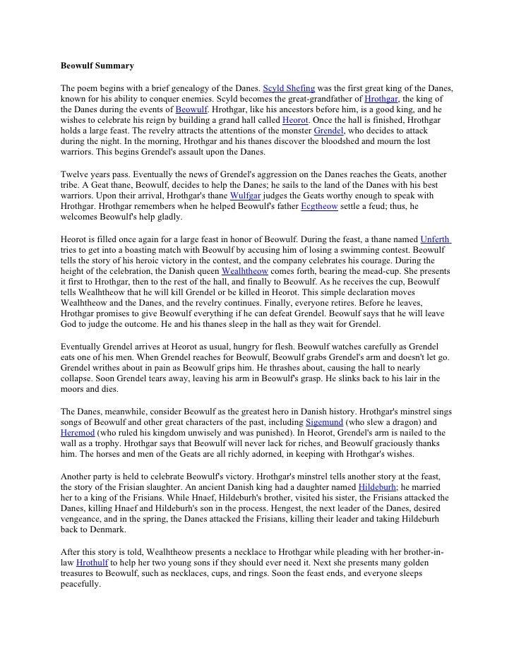 Summary story of beowulf