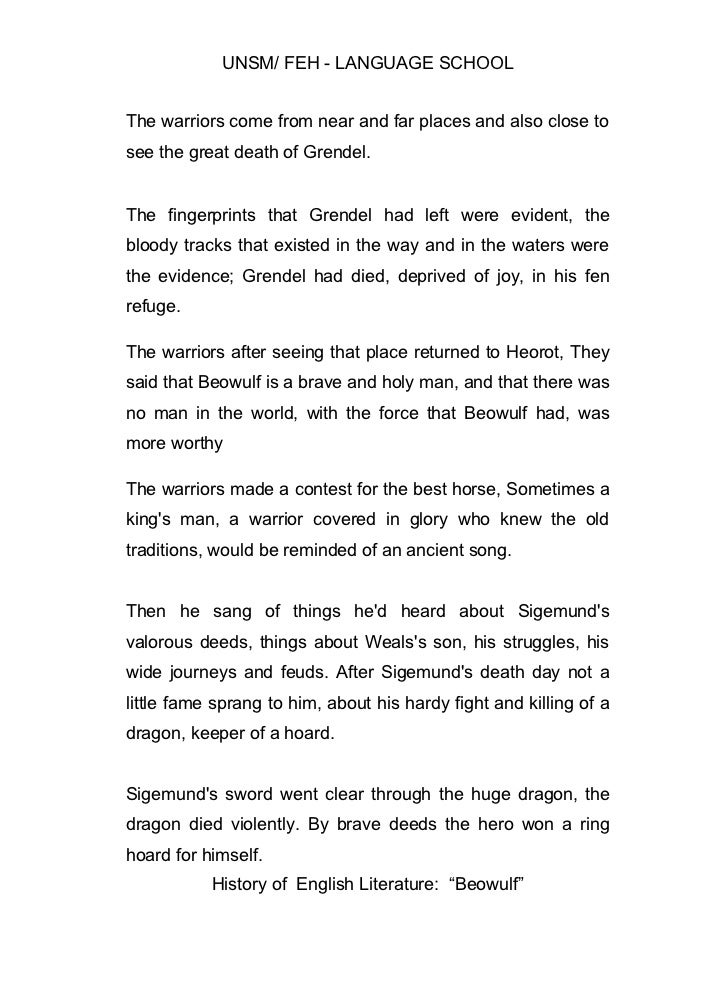 Beowulf and grendel summary