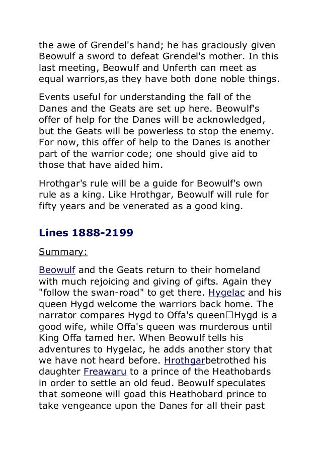 an analysis and a comparison of beowulf and grendel story After beowulf killed grendel, he went to look for his mother  we have so large  base of authors that we can prepare a unique summary of any book.