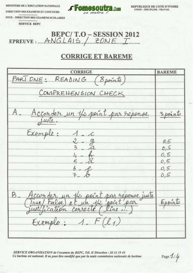 Bepc corrigé anglais_zone_1_2012