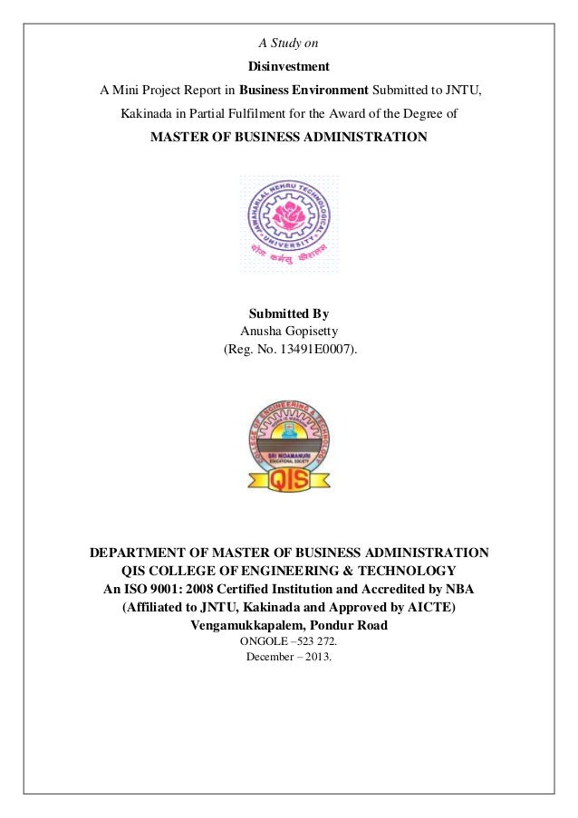 A Study on Disinvestment A Mini Project Report in Business Environment Submitted to JNTU, Kakinada in Partial Fulfilment f...