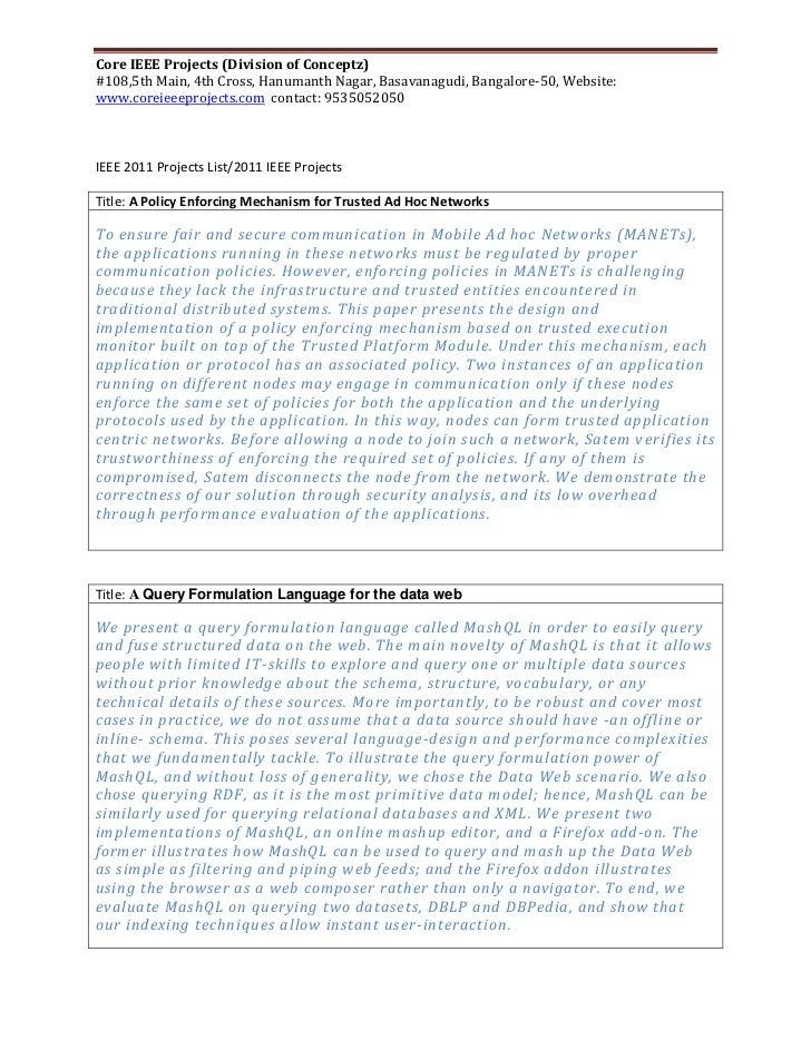 Core IEEE Projects (Division of Conceptz)#108,5th Main, 4th Cross, Hanumanth Nagar, Basavanagudi, Bangalore-50, Website:ww...
