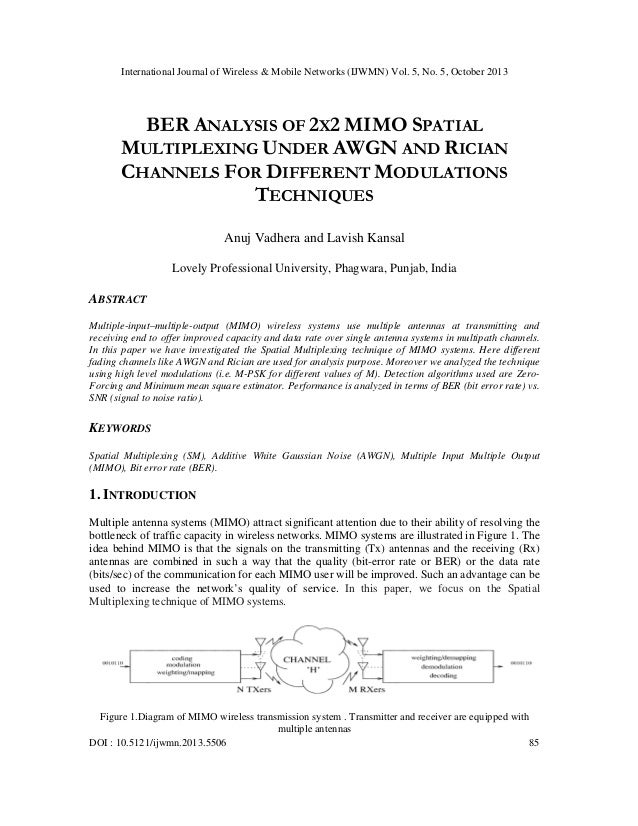 International Journal of Wireless & Mobile Networks (IJWMN) Vol. 5, No. 5, October 2013  BER ANALYSIS OF 2X2 MIMO SPATIAL ...