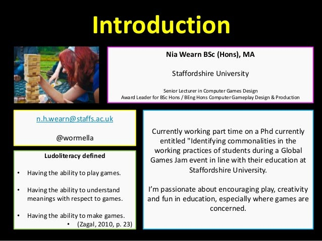 Creativity in Ludoliteracy, Games Development and Games Studies in the UK Slide 2
