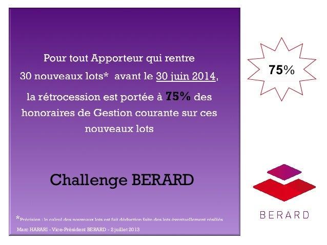 + 75%  Challenge BERARD Marc HARARI - Vice-Président BERARD - 2 juillet 2013