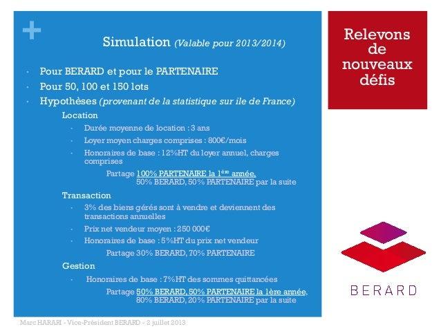 + • • •  Simulation (Valable pour 2013/2014)  Pour BERARD et pour le PARTENAIRE Pour 50, 100 et 150 lots Hypothèses (pr...