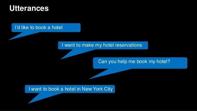 Utterances I'd like to book a hotel I want to make my hotel reservations I want to book a hotel in New York City Can you h...