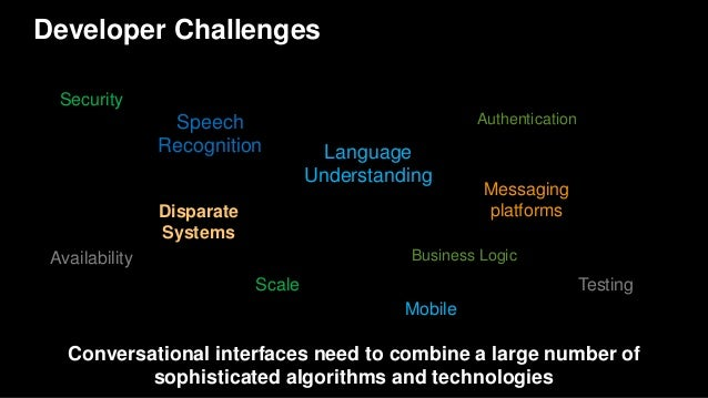 Developer Challenges Conversational interfaces need to combine a large number of sophisticated algorithms and technologies...