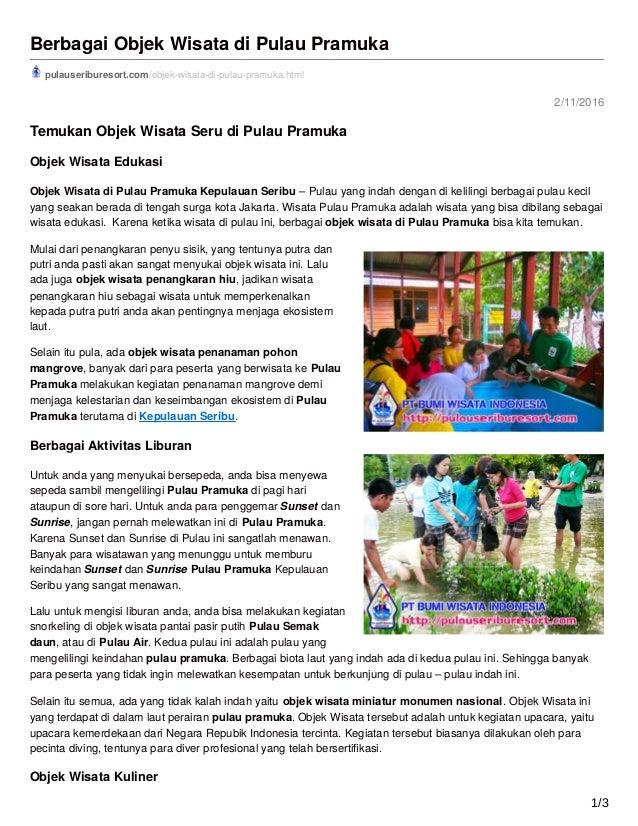2/11/2016 Berbagai Objek Wisata di Pulau Pramuka pulauseriburesort.com/objek-wisata-di-pulau-pramuka.html Temukan Objek Wi...