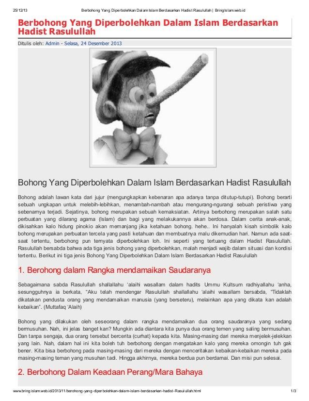 25/12/13  Berbohong Yang Diperbolehkan Dalam Islam Berdasarkan Hadist Rasulullah | BringIslam.web.id  Berbohong Yang Diper...
