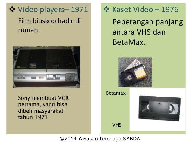  Video players– 1971 Film bioskop hadir di rumah. Sony membuat VCR pertama, yang bisa dibeli masyarakat tahun 1971  Kase...