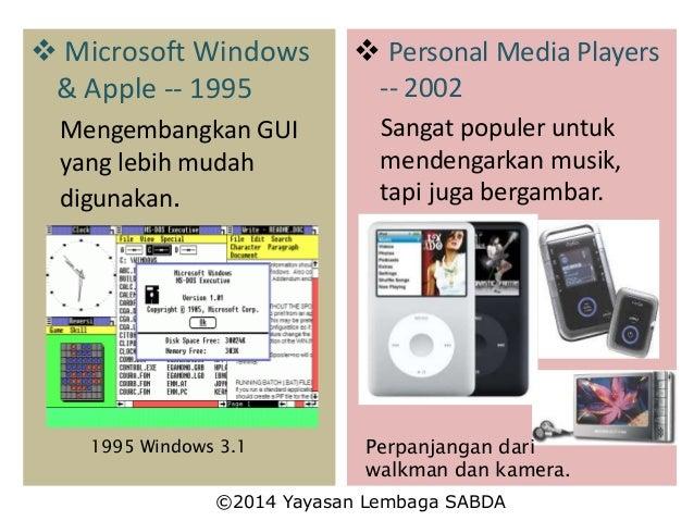  Microsoft Windows & Apple -- 1995 Mengembangkan GUI yang lebih mudah digunakan. 1995 Windows 3.1  Personal Media Player...