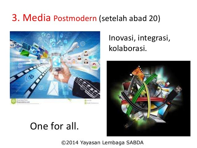 3. Media Postmodern (setelah abad 20) Inovasi, integrasi, kolaborasi. One for all. ©2014 Yayasan Lembaga SABDA