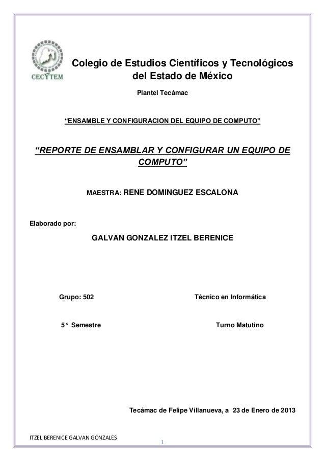Colegio de Estudios Científicos y Tecnológicos                          del Estado de México                              ...