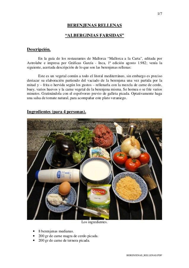 """1/7 BERENJENAS_RELLENAS.PDF BERENJENAS RELLENAS """"ALBERGINIAS FARSIDAS"""" Descripción. En la guía de los restaurantes de Mall..."""