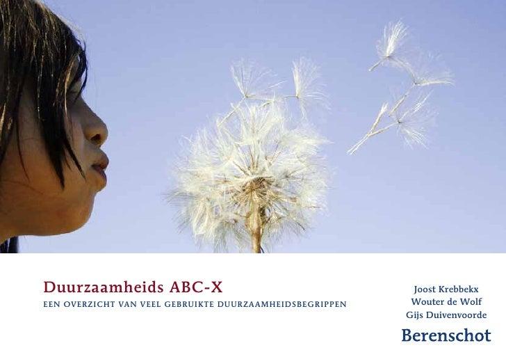 Duurzaamheids ABC-X                                         Joost Krebbekxeen overzicht van veel gebruik te duurzaamheidsb...