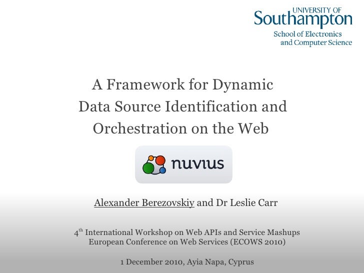A Framework for Dynamic Data Source Identification and                 Orchestration on the Web     Alexander Berezovskiy...
