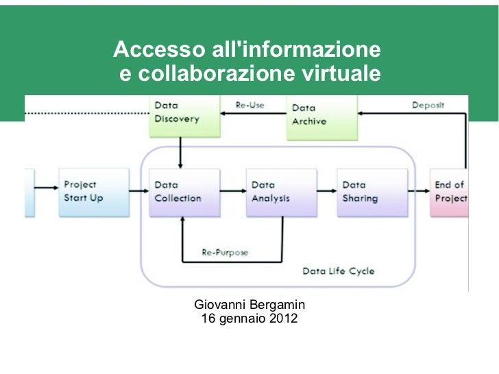 Accesso all'informazione ecollaborazione virtuale Giovanni Bergamin 16 gennaio 2012