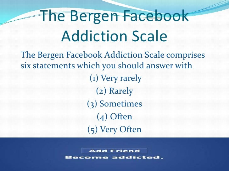 the facebook addiction Internet addiction disorder (iad), also known as problematic internet use or pathological internet use, refers to excessive internet use that interferes with daily life.