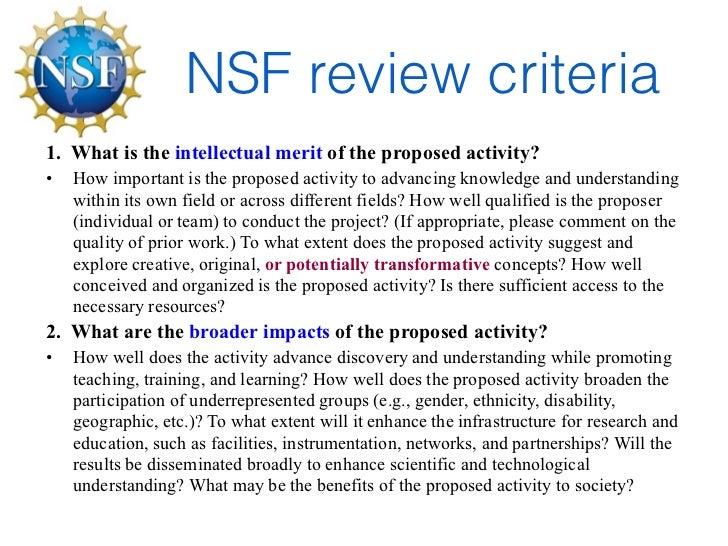 NSF proposal writing