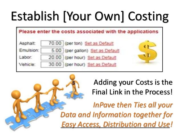 Establish [Your Own] Costing Adding your Costs is the Final Link in the Process! InPave then Ties all your Data and Inform...