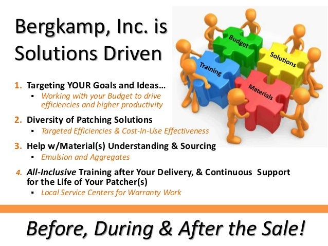Bergkamp, Inc. is Solutions Driven 1. Targeting YOUR Goals and Ideas…  Working with your Budget to drive efficiencies and...