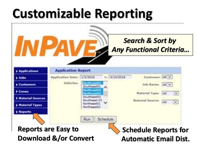 Customizable Reporting Reports are Easy to Download &/or Convert Search & Sort by Any Functional Criteria… Schedule Report...