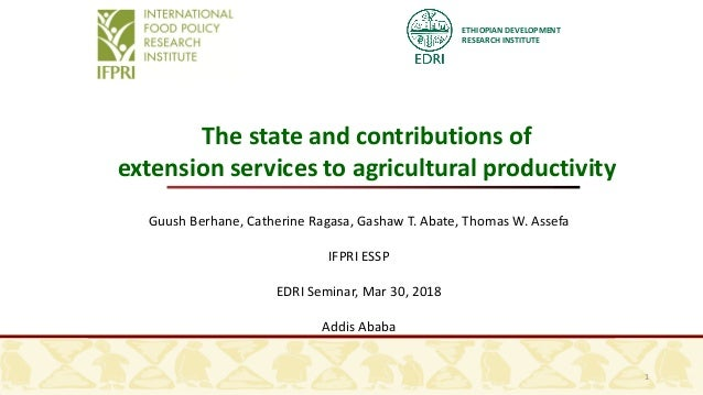 ETHIOPIAN DEVELOPMENT RESEARCH INSTITUTE 1 The state and contributions of extension services to agricultural productivity ...