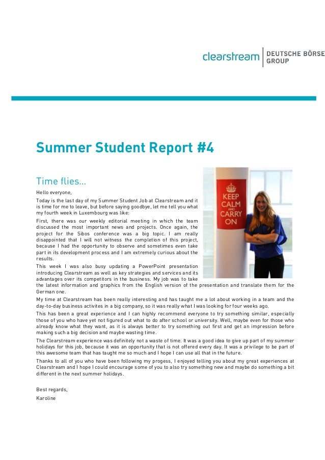Summer Student Report #4 Time flies… Hello everyone, Today is the last day of my Summer Student Job at Clearstream and it ...