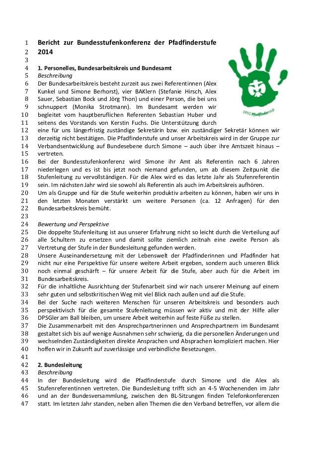 Bericht zur Bundesstufenkonferenz der Pfadfinderstufe 1 2014 2  3  1. Personelles, Bundesarbeitskreis und Bundesamt 4  Bes...