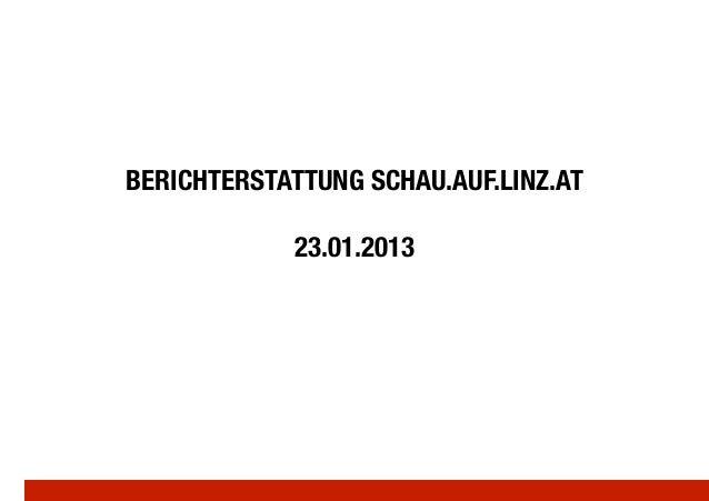 BERICHTERSTATTUNG SCHAU.AUF.LINZ.AT!             23.01.2013